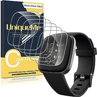 UniqueMe [6Pack] Protector de Pantalla para Fitbit Versa 2, película Transparente de Burbuja de TPU Huella Digital Disponi...