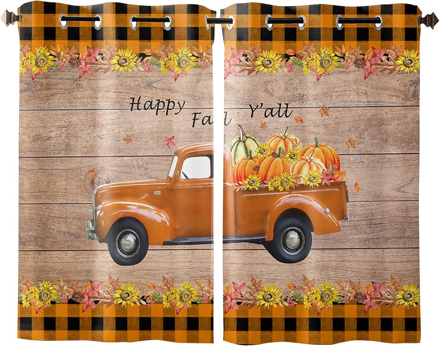 free shipping Window Curtain Fall Max 88% OFF Farm Harvest Sunflowers Pumpkin D Home Truck