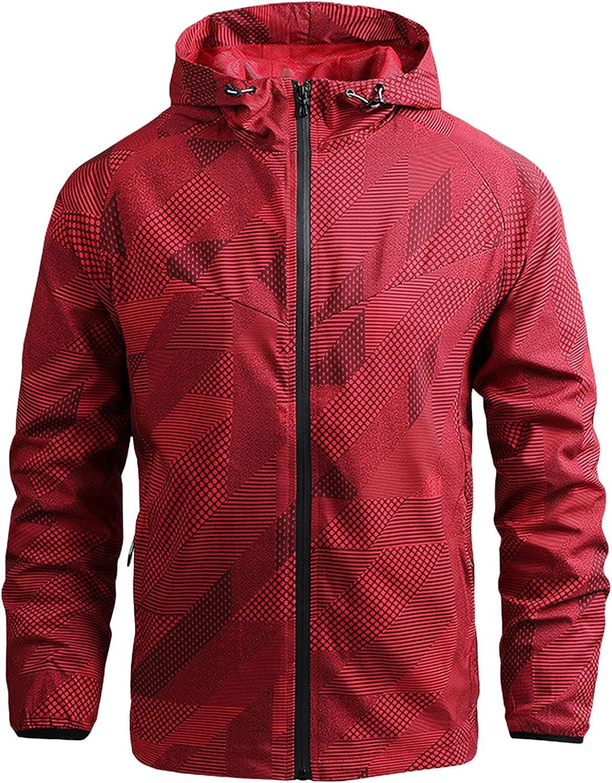 Huangse Men's Drawstring Jacket Regular fit Long Sleeve Raincoat Lightweight Street Waterproof Trenchcoat