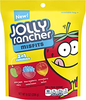 JOLLY RANCHER MISFITS 2 in 1 Gummies, Assorted Fruit Flavors, 8 Ounce Resealable Pouch
