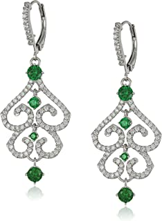 [Amazon Collection] キュービックジルコニア ロジウムメッキシルバー 925 sterling Rhodium Plated Sterling Silver Round Green and White Cubic Zircon...