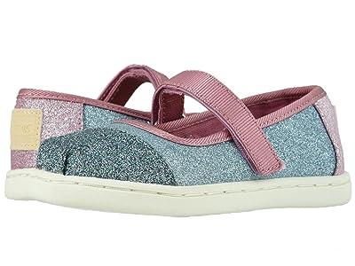 TOMS Kids Mary Jane (Infant/Toddler/Little Kid) (Powder Blue Blocked Glitter) Girls Shoes
