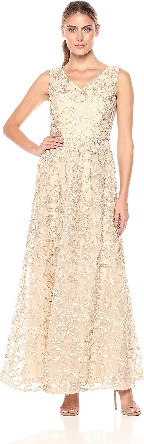 Ellen Tracy Womens Soutache V Neck Cocktail Gown Cocktail Dress