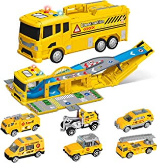 FunLittleToy Construction Toy Truck with 6 Pieces Mini Die-cast Toy Cars, Car Carrier CstruCtion Truck for Kids, Xmas Gift for Boys & Girls