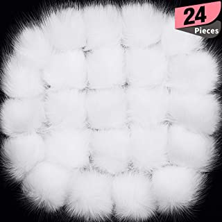24 Pieces Faux Fox Fur Pom Pom Balls with Elastic Loop DIY Faux Fur Fluffy Pompoms Ball with Rubber Band Knitting Accessories for Hats Shoes Scarves Bags Keychain Charms (White)