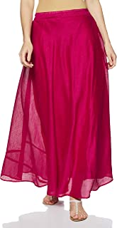 Shararat Women's Long Indo Western Traditional Silk Skirt (Free Size: stretch from 28 to 36 inches)