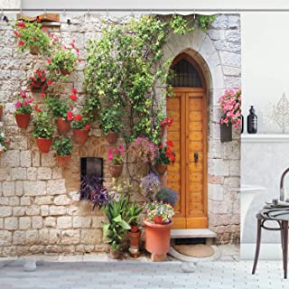 Ambesonne Tuscan Decor Collection, Begonia Blooming in Box and Wooden Shutters on Brick Wall in Italy Picture, Polyester Fabric Bathroom Shower Curtain Set with Hooks, Red Purple Ivory