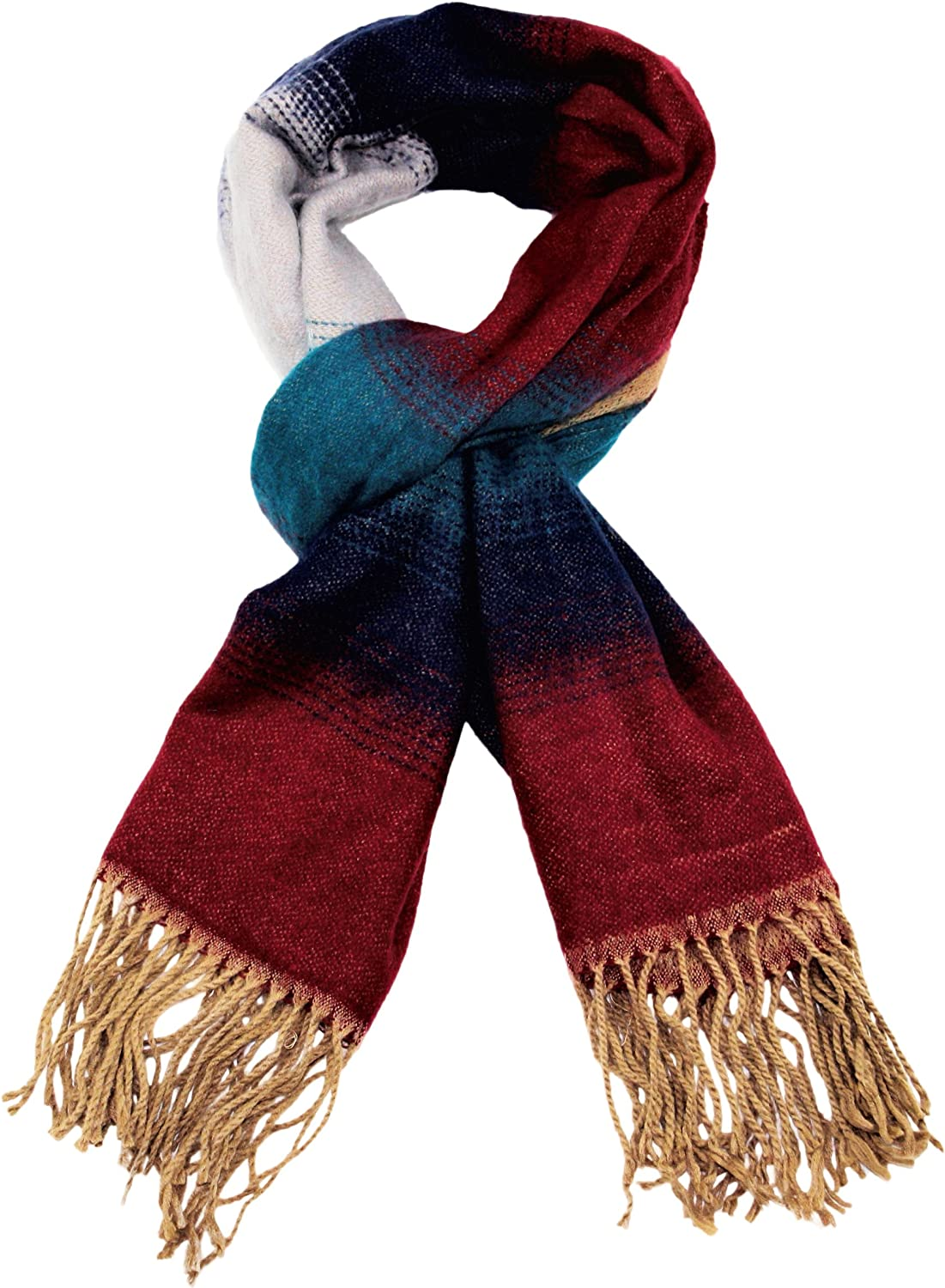 Luxury Super Soft Scarf Faux Cashmere Feel Wrap Gradient Design in Turquoise Purple Burgundy