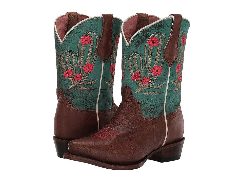Roper Kids Cactus Cutie Snip (Toddler/Little Kid) (Tan Burnished Vamp/Embossed Cactus Shaft) Cowboy Boots