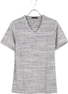 カットソー Vネック メンズ リブ Tシャツ 半袖 ランダムリブ MIX 杢 キレイめ D300410-04HE