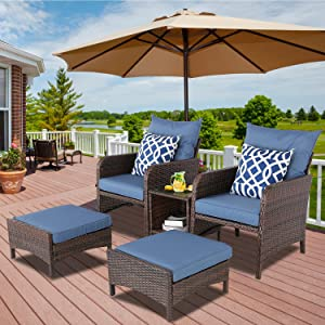 BPTD 5 Pieces Outdoor Patio Furniture Set Brown PE Wicker Rattan Patio Multipurpose Sectional Conversation Set, Patio Lounge Chair with Ottoman and Coffee Table for Garden, Poolside, Balcony, Backyard