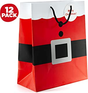 Prextex Santa Clause Suit Medium Gift Bags Christmas Gift Bags - 12 Piece Pack