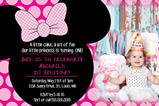 The Melange Market Customized - Minnie Mouse Birthday Party Invitation - with Photo Option