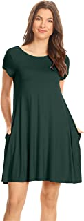 Casual T Shirt Dress for Women Flowy Tunic Dress with Pockets Reg and Plus Size - USA