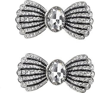 SHINYTIME 2 Pairs Vintage Diamante Crystal Flower Rhinestone Buckles Sew On Hooks and Eyes Cardigan Clip Clasps Sash Belt Rhinestone Applique Decoration (Bowknot)