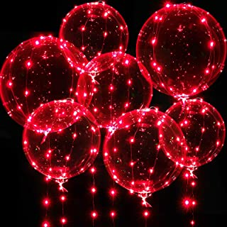 Light up Balloons, 7 Packs 20 Inch Valentines Bobo Balloons with 10ft Led Red String Lights for Valentines Day Wedding Chr...