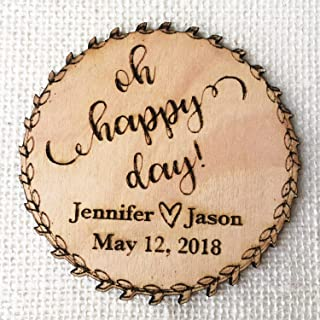 save the date wooden heart magnets