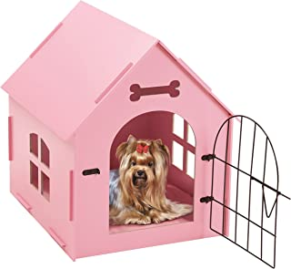 Tristar Products-us Craft Wood Dog House with Door and Window, Indoor Kennel for Small Dogs, Cats with Bed Mat, Pink