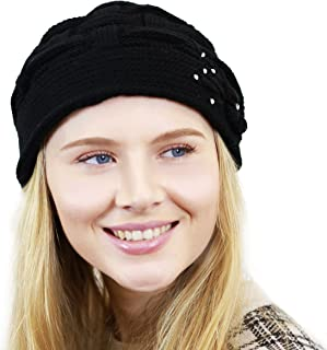 THE HAT DEPOT Women's Hand Made Flower Rhinestone Knit Beanie Winter Hat