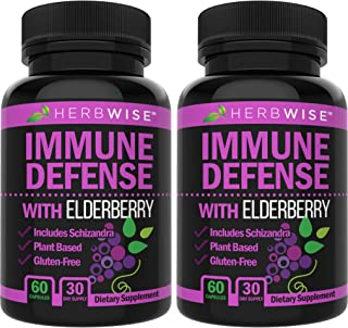Immune Defense - Elderberry Immune System Booster & Support Supplement – Wellness Formula for Natural Healthy, Stress Reli...