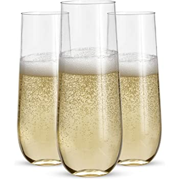 24 Stemless Plastic Champagne Flutes - 9 Oz Plastic Champagne Glasses | Clear Plastic Unbreakable Toasting Glasses |Shatterproof | Disposable | Reusable Perfect For Wedding Or Party