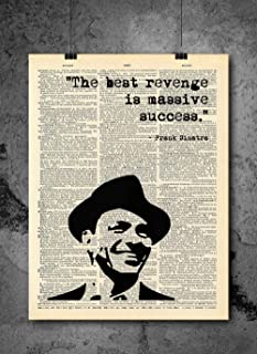 Frank Sinatra - The Best Revenge Is Success - Dictionary Art Print - Vintage Dictionary Print 8x10 inch Home Vintage Art Wall Art for Home Wall For Living Room Bedroom Office Ready-to-Frame