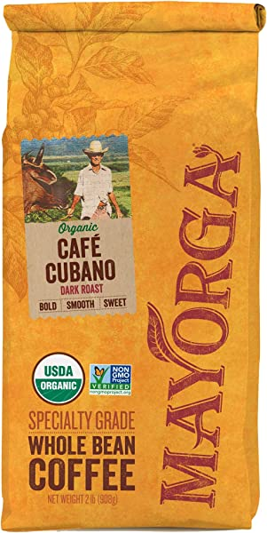 Mayorga Organics Cafe Cubano Dark Roast 2 Pound Whole Bean Coffee Direct Trade 100 USDA Organic Certified Non GMO Kosher