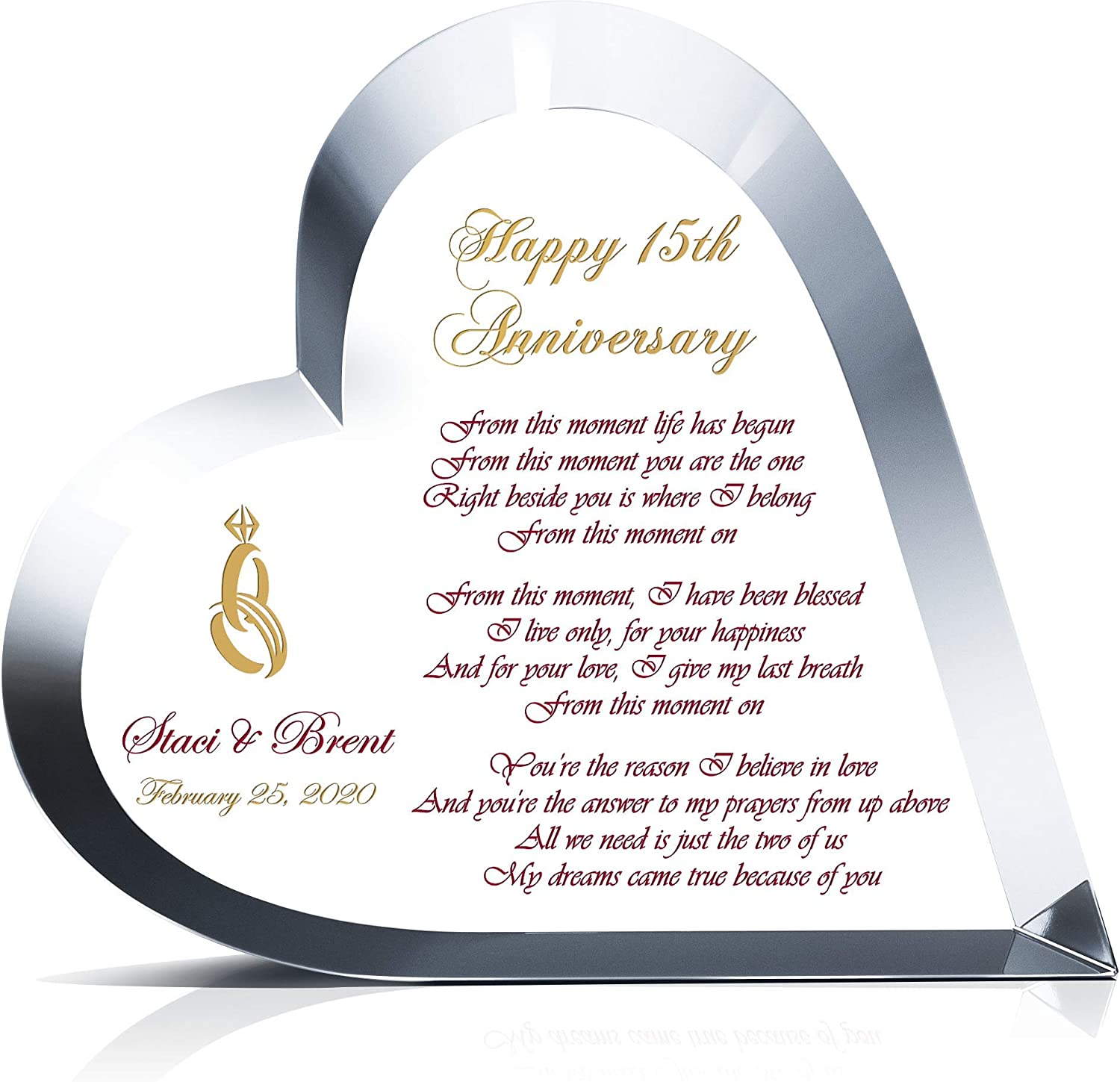 Amazon Com Personalized Heart Shape Crystal Gift For 15th Wedding Anniversary For Him Or For Her Customized With Love Poem Couple Name Unique Gift For Wife Or Husband On Your 15th Anniversary M