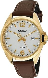 ساعة بمينا ابيض وسوار من الجلد للرجال من سيكو، موديل Sur216P1