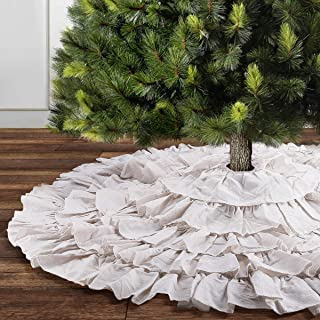 yuboo Christmas Tree Skirt, 50 inches Burlap 6-Layer Rustic Xmas Tree Holiday Decorations (red) (White)