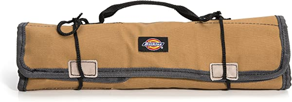 Dickies Work Gear Socket Organizer Large Wrench Roll 57006 Durable Canvas Construction 23 Pockets Reinforced Ties Protective Flaps Grey Tan 15 2 Oz