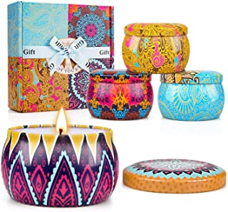Scented Candles Set, Natural Soy Wax Candle Gift Set for Women Travel Tin Candles for Aromatherapy, Stress Relief, Relaxation - 4 Pack (4.4oz each)