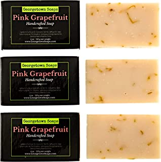 Georgetown Soaps Handmade Bath Soaps – 4 oz Pink Grapefruit, Lemongrass & Orange Essential Oils Body Bars with Moisturizin...