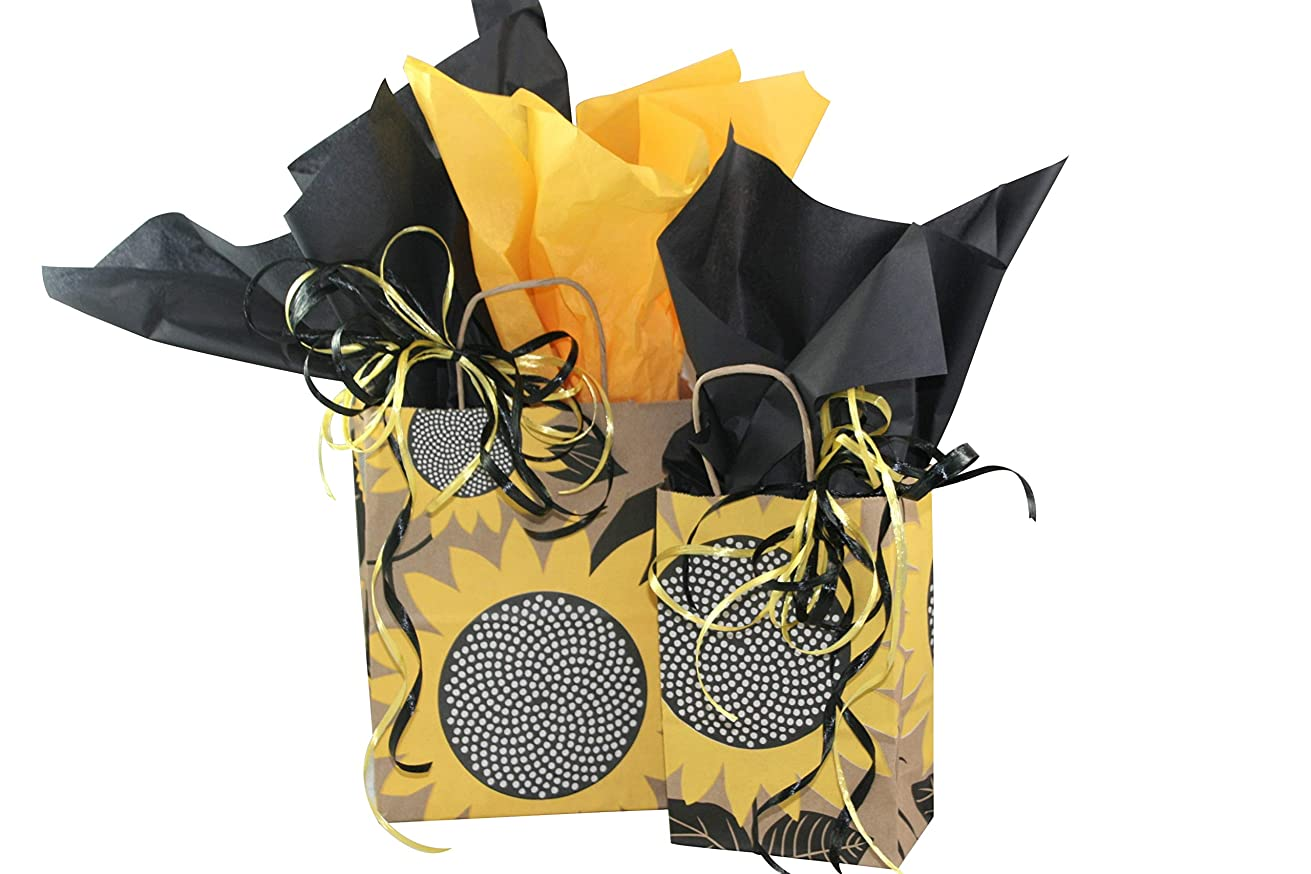 All Occasion Gift Bag Assortment with Coordinating Tissue Paper and Ribbon - 16 Pieces (Sunflower Fields)