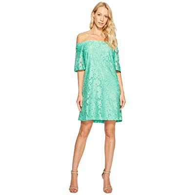 Donna Morgan Off the Shoulder Short Sleeve Knit Lace Shift Dress (Field Green) Women