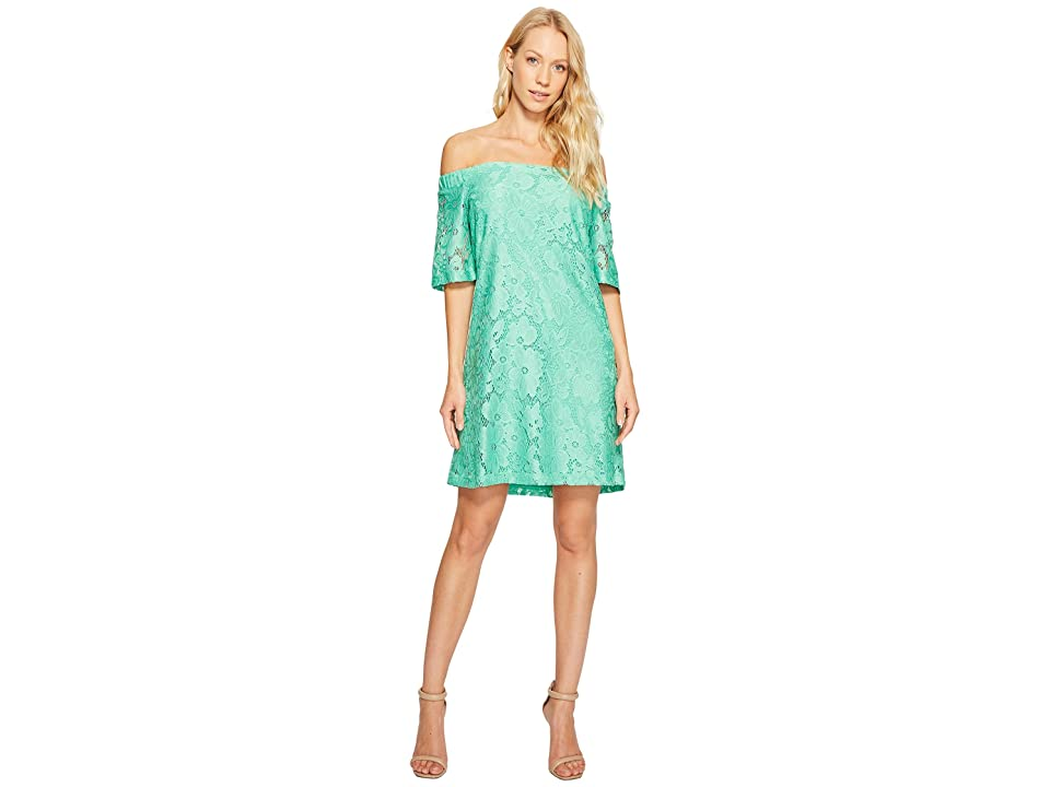 Donna Morgan Off the Shoulder Short Sleeve Knit Lace Shift Dress (Field Green) Women