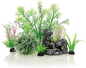JIH Aquarium Fish Tank Plastic Plants and Cave Rock Decorations Decor Set 7 Pieces, Small and Large Artificial Fish Tank Plants with Cave Rock