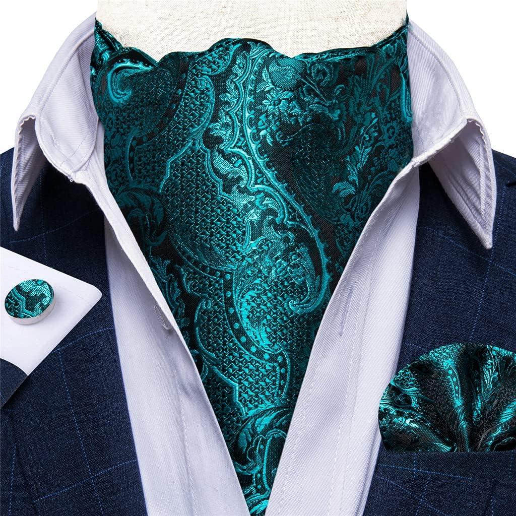 JJZXC Men Vintage Teal Green Wedding Formal Cravat Self British Style Gentleman Floral Necktie Pocket Square Set (Color : A, Size : One Size)