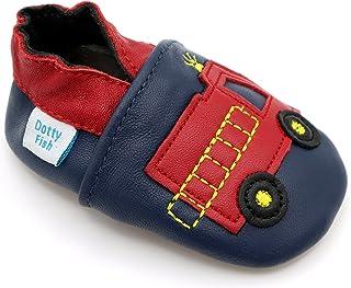 Dotty Fish. Chaussures Cuir Souple pour Tout-Petits et Bébé. 0-6 Mois à 4-5 Ans. Chaussons pour Les garçons. avec des Voit...
