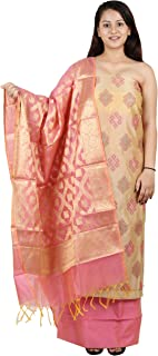 Yi YouthIconz - Inspiring Youth In You Women's Chanderi Silk Unstitched Embroidered Dress Material (5347, Cream, Free Size)