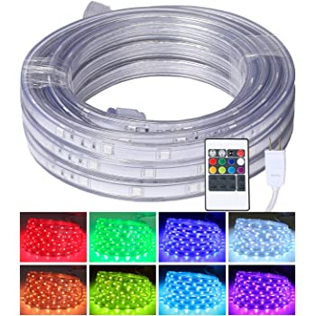 LED Rope Lights, 16.4ft Flat Flexible RGB Strip Light, Color Changing, Waterproof for Indoor Outdoor Use, Connectable Decorative Lighting, 8 Colors and Multiple Modes