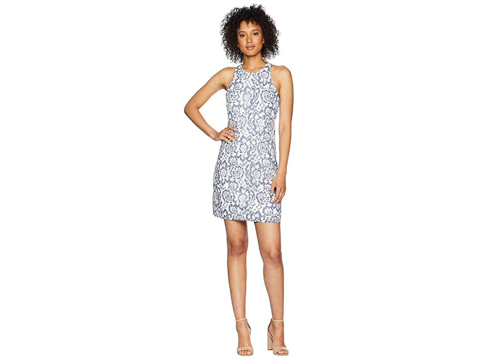 Adrianna Papell Elise Lace A Line Dress (Blue/White) Women