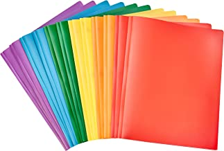 AmazonBasics Heavy Duty Plastic Folders with 2 Pockets for Letter Size Paper, Pack of 12