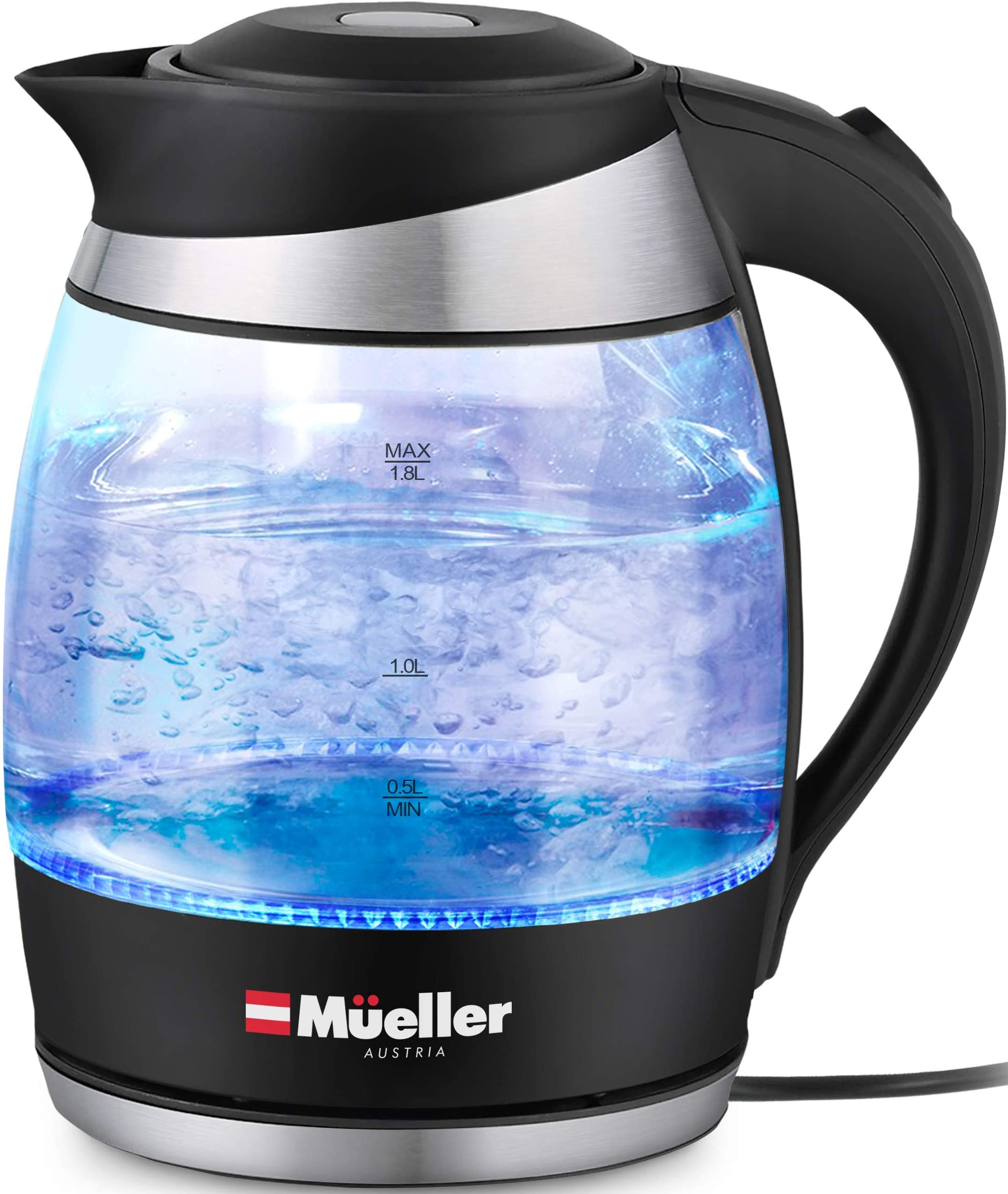 Mueller Premium 1500W Electric Kettle with SpeedBoil Tech, 1.8 Liter Cordless with LED Light, Borosilicate Glass, Auto Shut-Off and Boil-Dry Protection