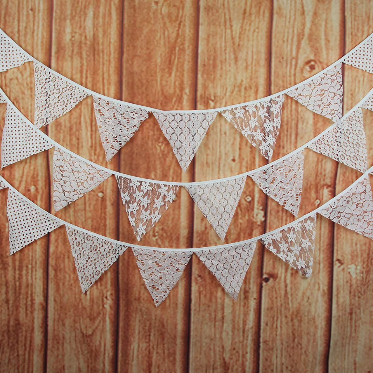 INFEI 3.2M/10.5Ft Mixed White Floral Lace Fabric Flags Bunting Banner Garlands for Wedding, Birthday Party, Outdoor & Home Decoration (Off-White)