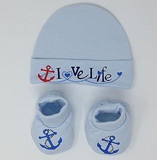 Soft Touch, Conjunto de bebé recién nacido y calcetines de algodón, azul claro
