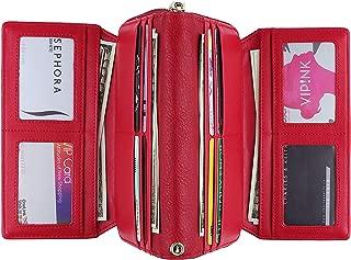 WOZEAH Women's PU Leather RFID Large Capacity Long Wallet Clutch Pures handbags Credit Card Holder Organizer Ladies Purse