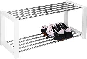 HomeTrends4You 838326 Banc de rangement à chaussures Blanc chromé 80x32x30 cm