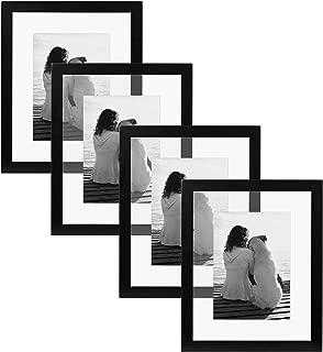 DesignOvation Gallery Float Glass Modern Wood Picture Frames, 8x10, Black