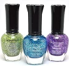 3 Kleancolor Nail Polish Diamond Glitter Green Blue Purple Lacquer Set 3SET38 + FREE EARRING